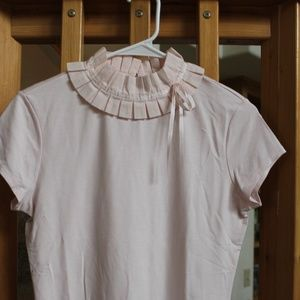 Baby Pink pleated bow Frill Neck Fitted T-shirt M